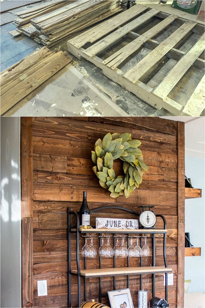 DIY pallet kitchen wall