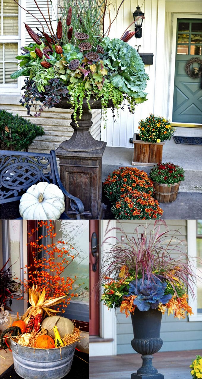 fall planter pots on porch and patio with mums, kale and pumpkins