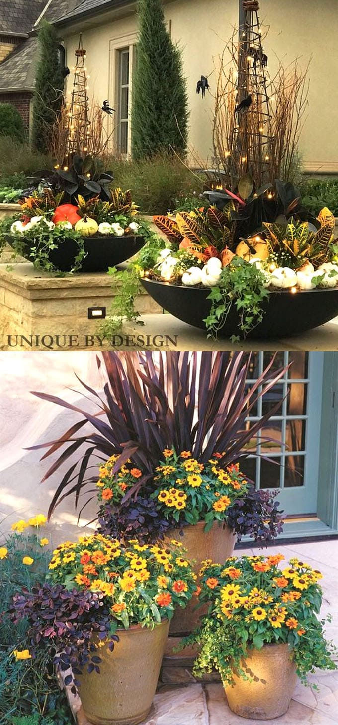 outdoor fall and thanksgiving decorations pots with pumpkins on front porch