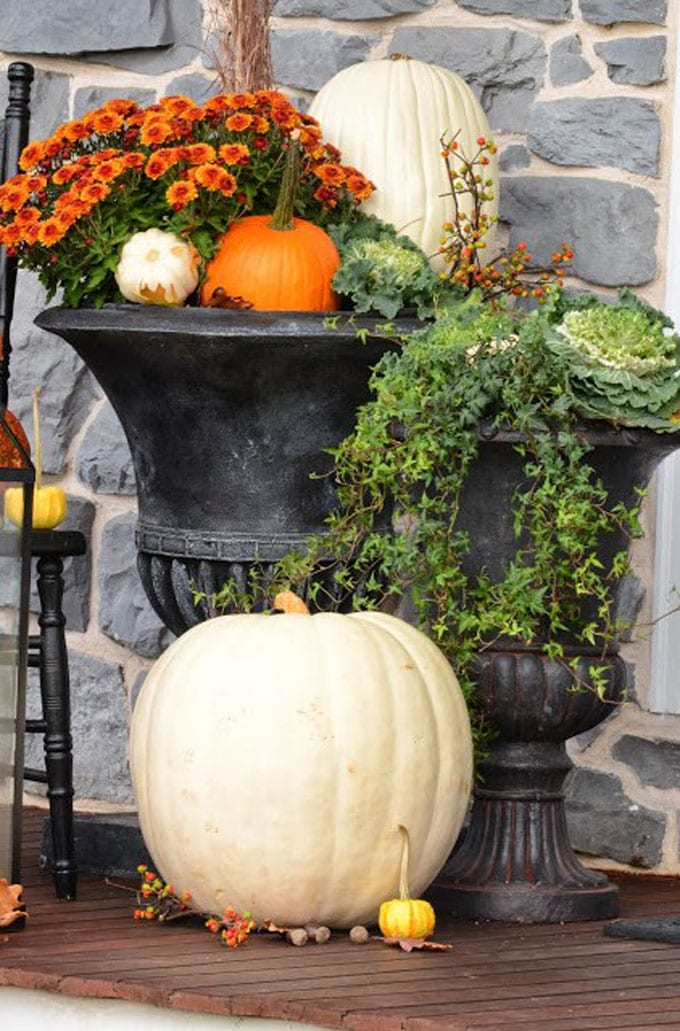 Fall decorations in Urn Planters