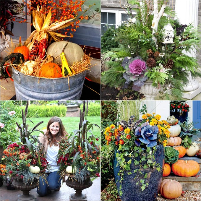 Autumn Yard Decorations: DIY Fall & Thanksgiving Decorations Planter {So Easy!}