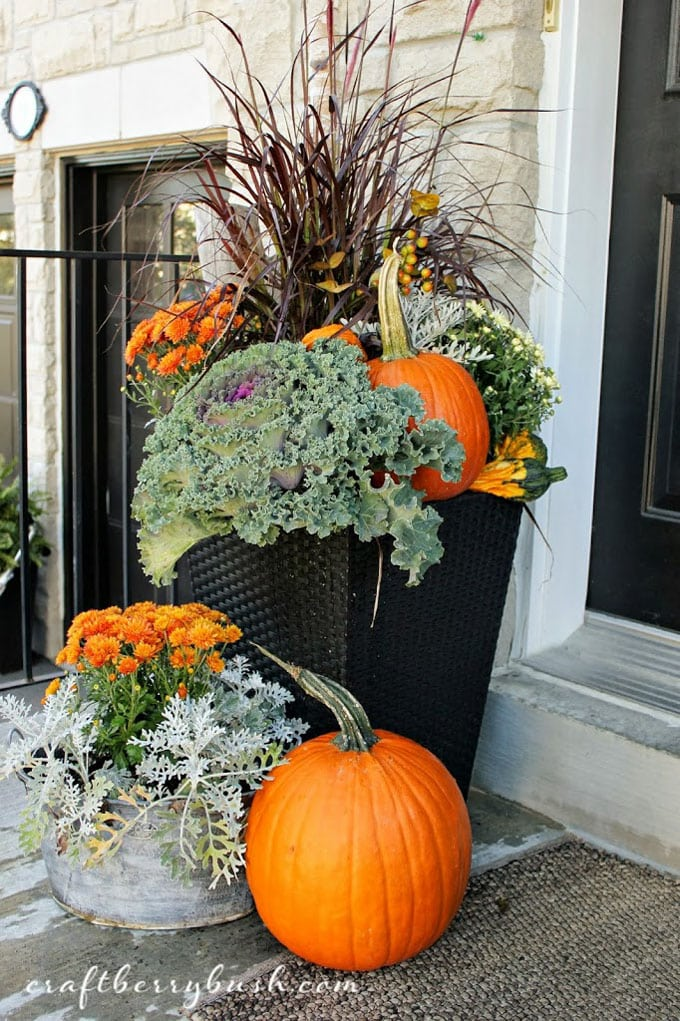 fall front porch decorations with autumn colors