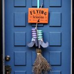 """Easy & free DIY Halloween door decoration with """"Flying Lessons"""" free printable sign! Great kids Halloween craft using nature finds & recycled materials."""