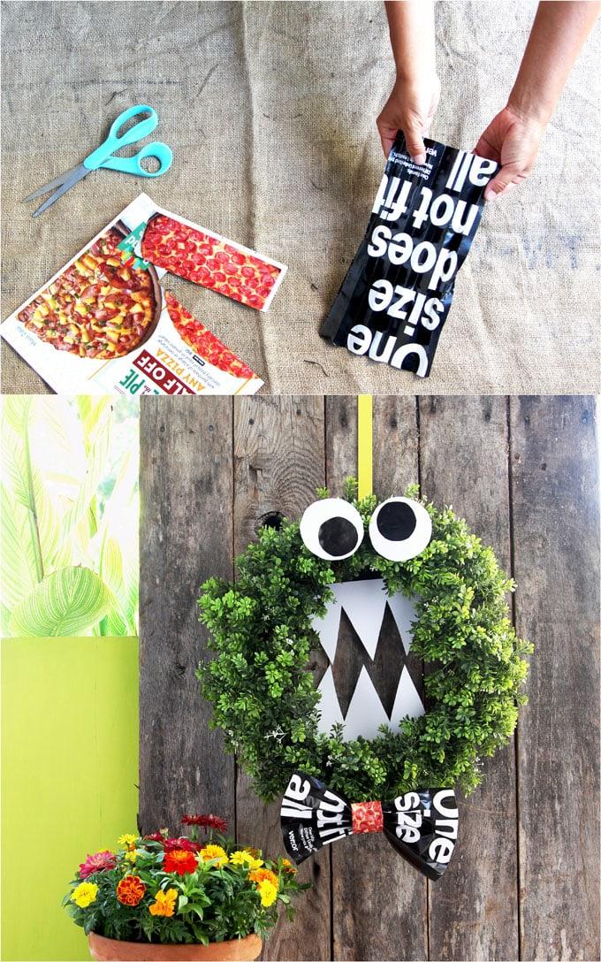 cookie monster diy halloween wreath halloween decorations door decor kids halloween crafts free easy apieceofrainbow 9jpg Easy DIY Monster Halloween Wreath