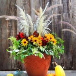 DIY beautiful outdoor fall & Thanksgiving Decorations planter in 20 minutes with mostly free materials! So easy & long lasting. Detailed tutorial & video!
