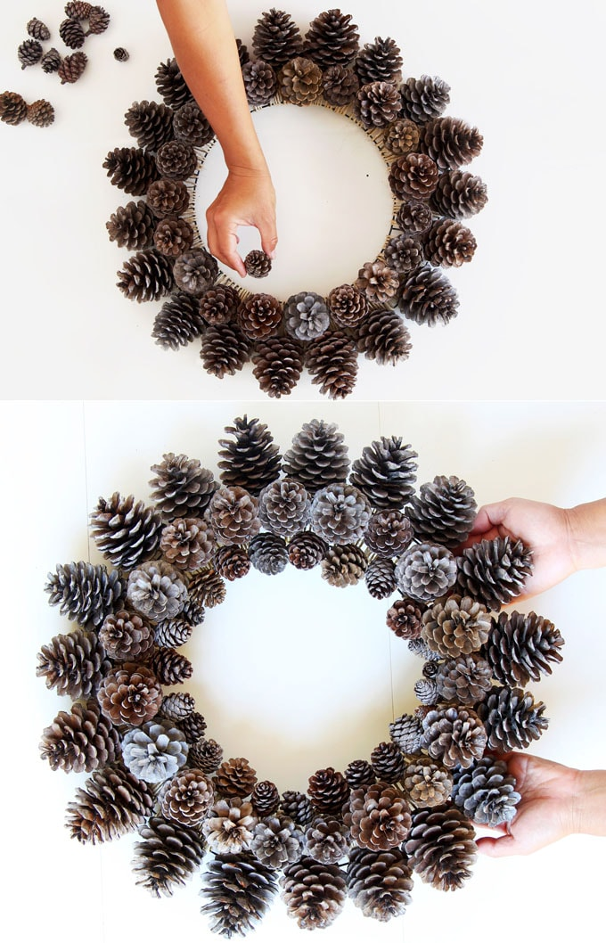 add small pine cones to DIY pinecone wreath
