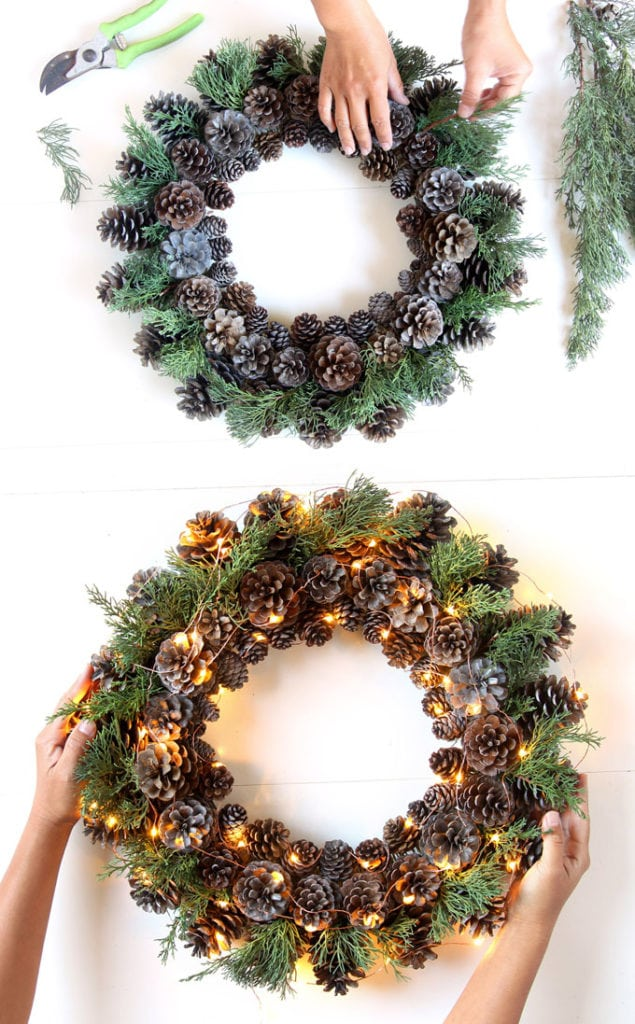 DIY pine cone wreath with LED string lights