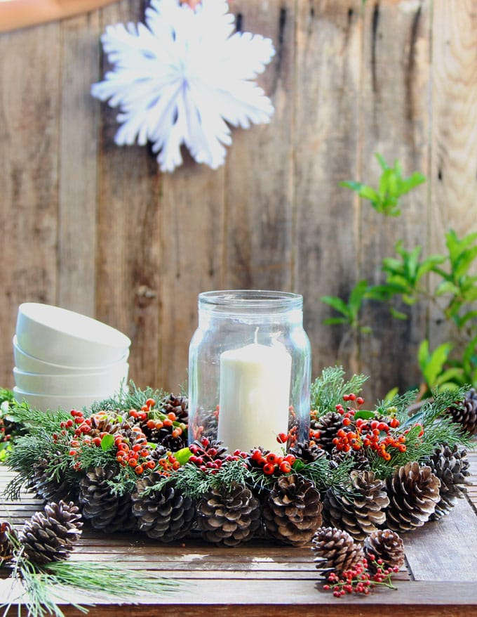 use the wreath as a table centerpiece for Thanksgiving or Christmas