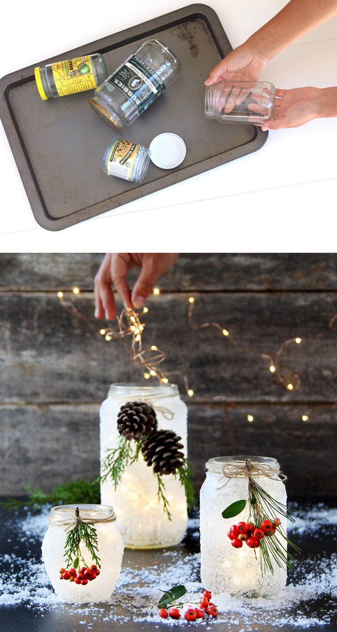 5 Minute Diy Snow Frosted Mason Jar Decorations A Piece