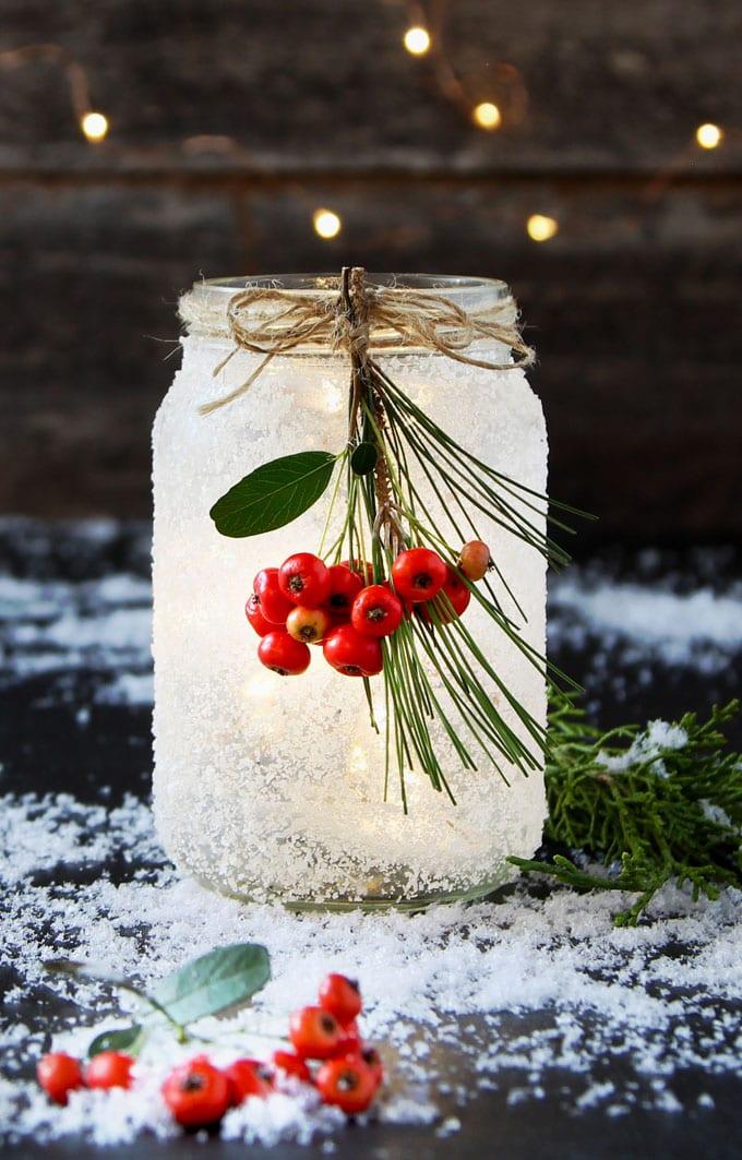 DIY snow frosted Christmas mason jars crafts decorations wedding centerpiece winter farmhouse mason jar lights apieceofrainbow 11 - 5 Minute DIY Snow Frosted Mason Jar Decorations {Magical!}