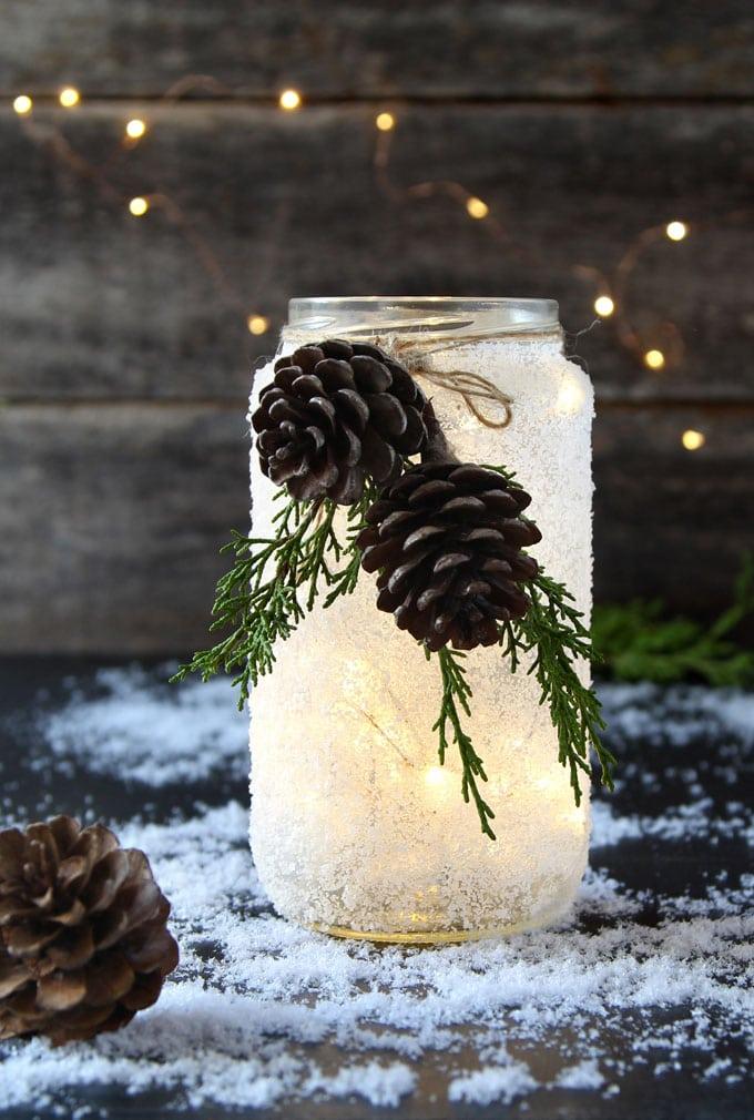 DIY snow frosted Christmas mason jars crafts decorations wedding centerpiece winter farmhouse mason jar lights apieceofrainbow 13 - 5 Minute DIY Snow Frosted Mason Jar Decorations {Magical!}