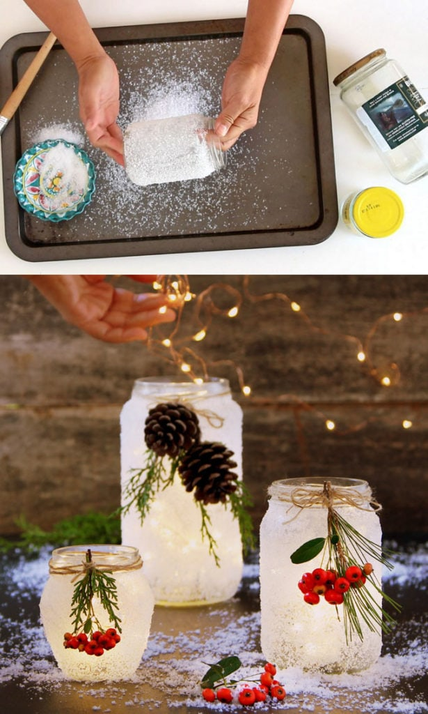 Easy DIY frosted mason jar candles.