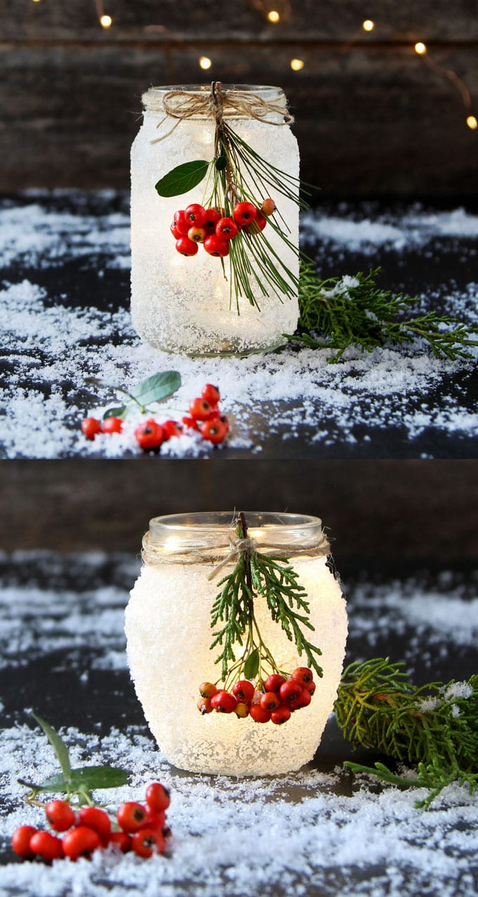 DIY snow frosted Christmas mason jars crafts decorations wedding centerpiece winter farmhouse mason jar lights apieceofrainbow 4 - 5 Minute DIY Snow Frosted Mason Jar Decorations {Magical!}