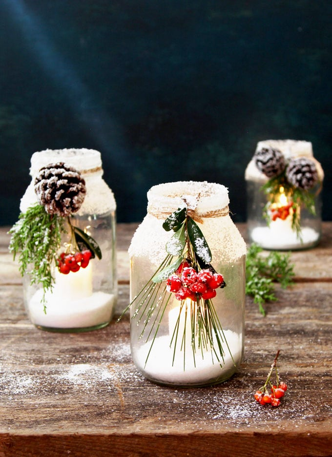 Snowy Diy Mason Jar Centerpieces 5 Minute 1 Decorations A Piece