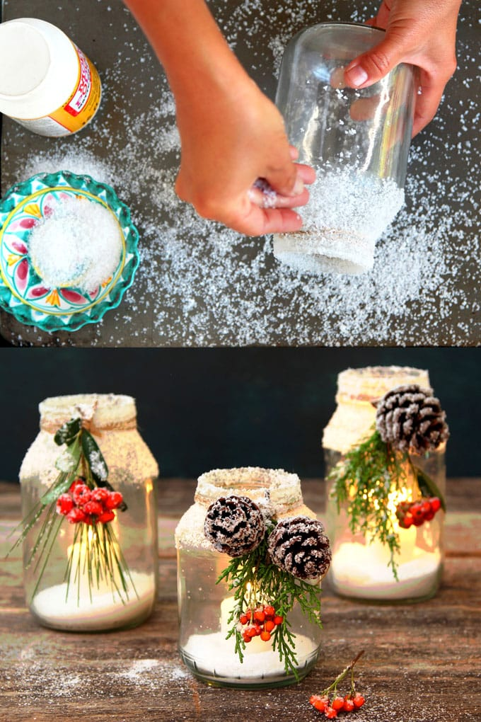 snowy DIY mason jar centerpieces with candles