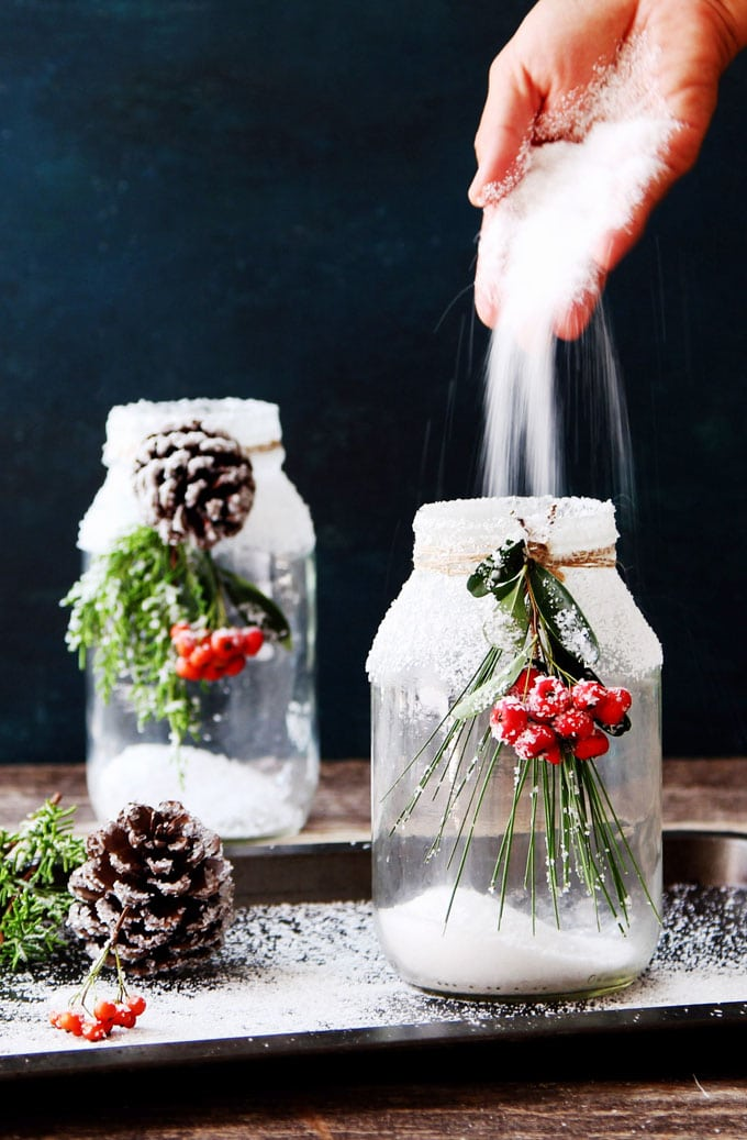 snowy diy mason jar centerpieces 5 minute 1 decorations a piece of rainbow. Black Bedroom Furniture Sets. Home Design Ideas