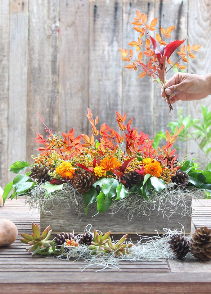 fall flowers and leaves in an Easy DIY fall & Thanksgiving centerpiece farmhouse style