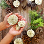 """Make beautiful """"bleached pinecones"""" in 5 minutes without bleach! Non-toxic & easy DIY craft, perfect for fall, winter, Thanksgiving & Christmas decorations!"""