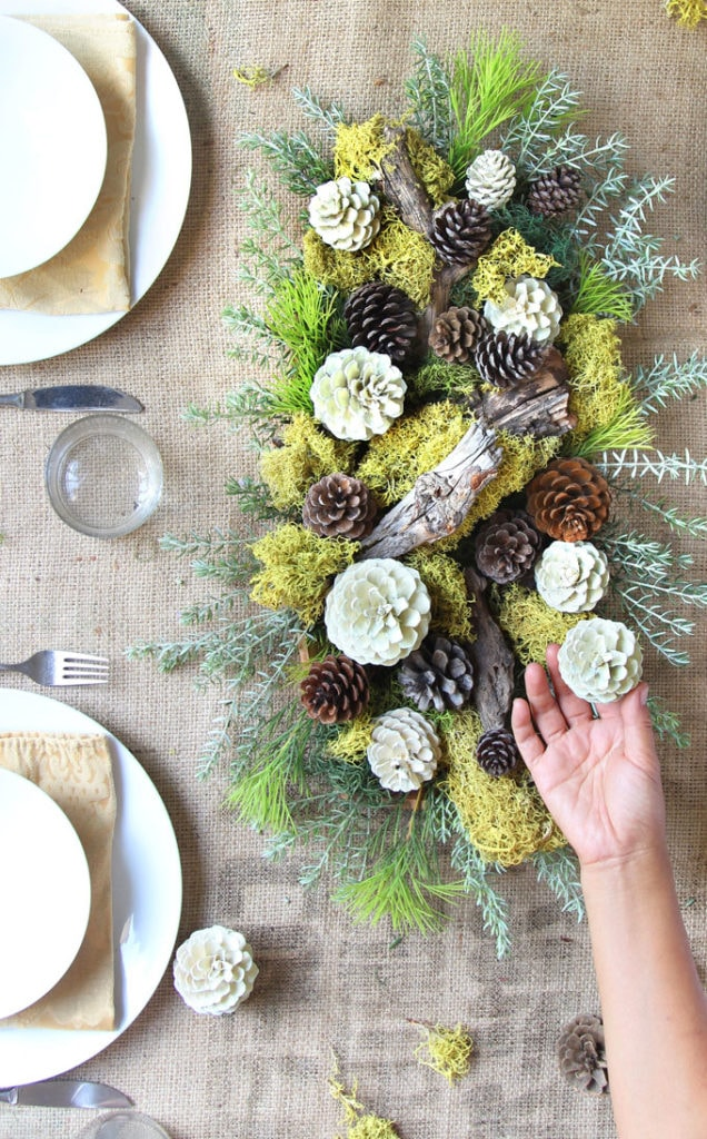 christmas centerpiece using faux bleached pinecones and moss