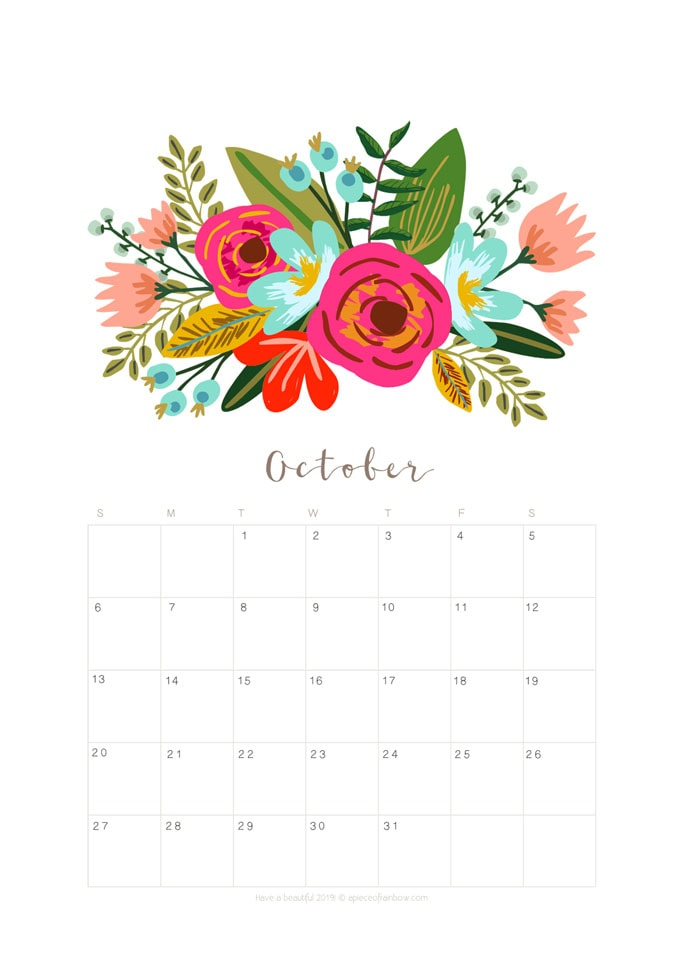 Printable October 2019 Calendar Monthly Planner {2 Designs ...
