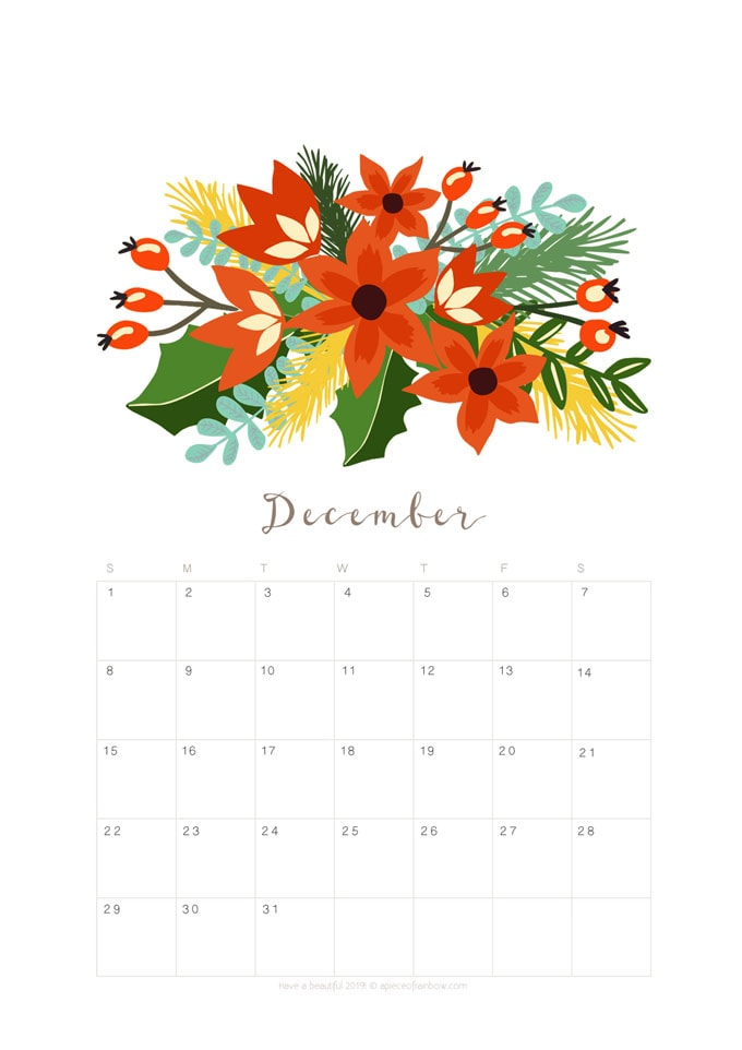 printable december 2019 calendar monthly planner  2