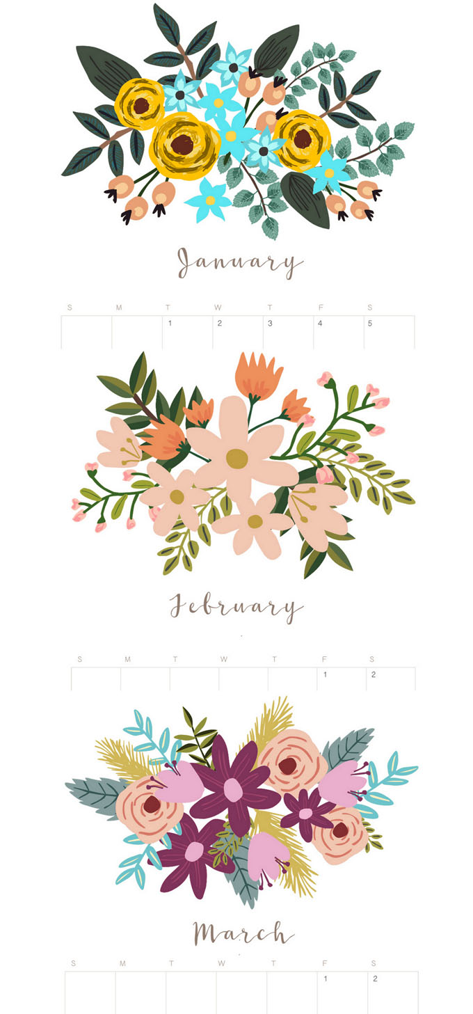 Beautiful floral January February and March 2020 calendar & monthly planners with unique painted flowers bouquet designs for each month! Free printable downloads! We also have a gorgeous modern minimal calendar & a 3D calendar ! - A Piece of Rainbow