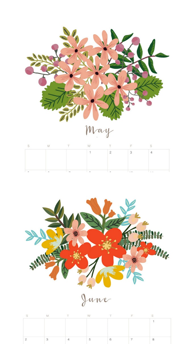 Beautiful floral May and June 2020 calendar & monthly planners with unique painted flowers bouquet designs for each month! Free printable downloads!