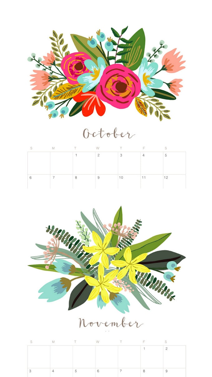 Beautiful floral October and November 2020 monthly calendar & monthly planners with unique painted flowers bouquet designs for each month! Free printable downloads!