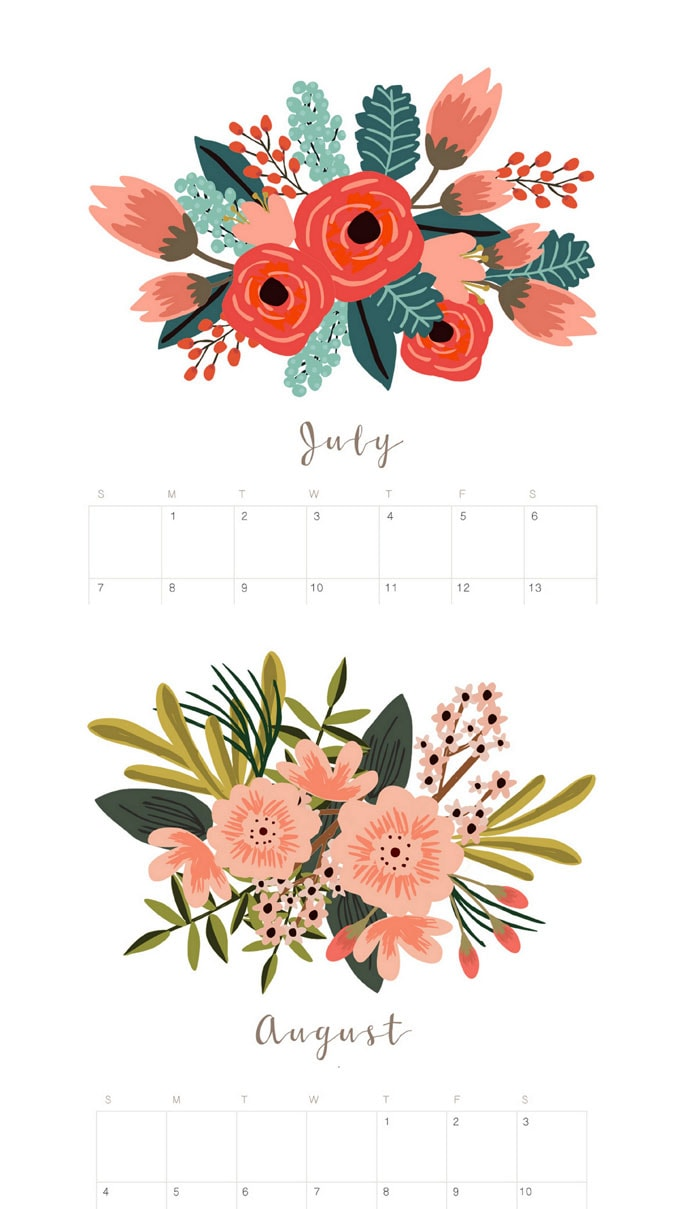 Beautiful floral 2020 July and August monthly calendar & planners with unique painted flowers bouquet designs for each month!