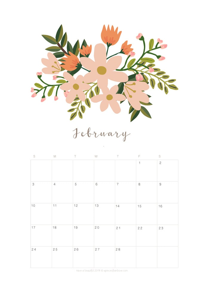 printable february 2019 calendar monthly planner  2