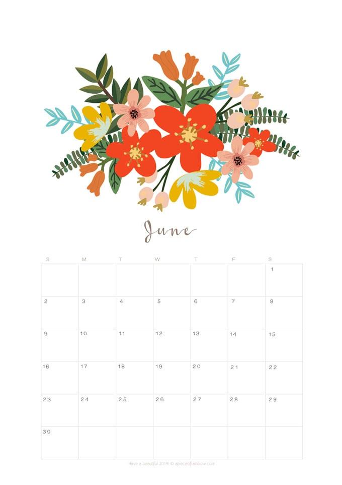 Calendar Planner Wallpaper : Printable june calendar monthly planner designs
