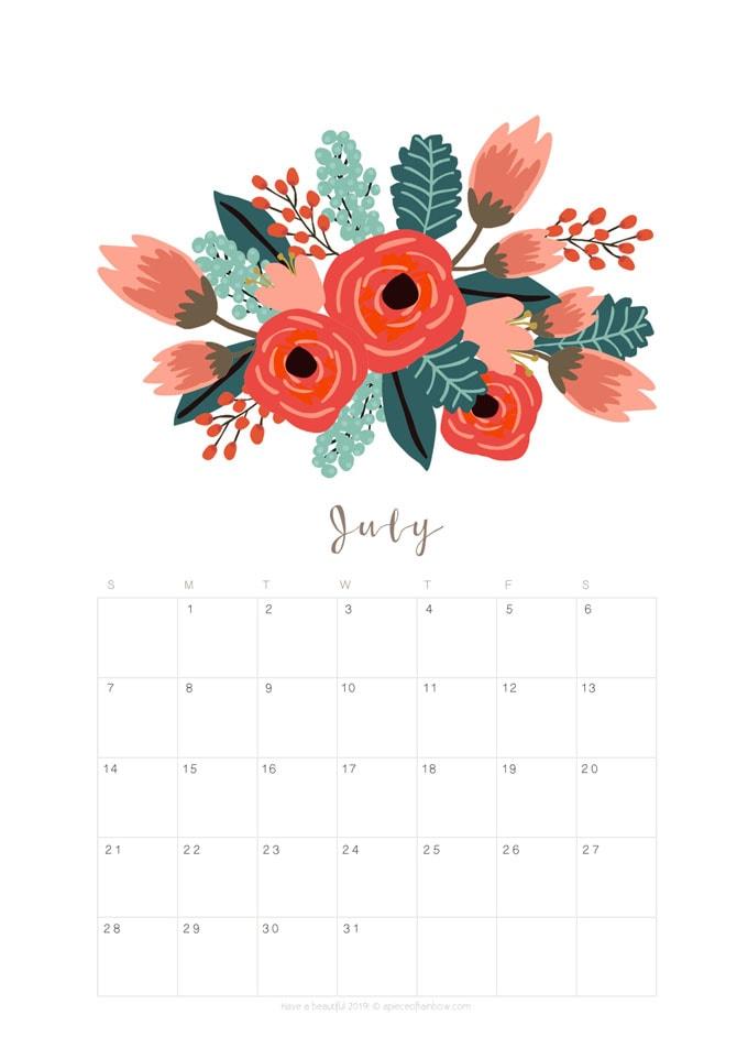 printable july 2019 calendar monthly planner  2 designs
