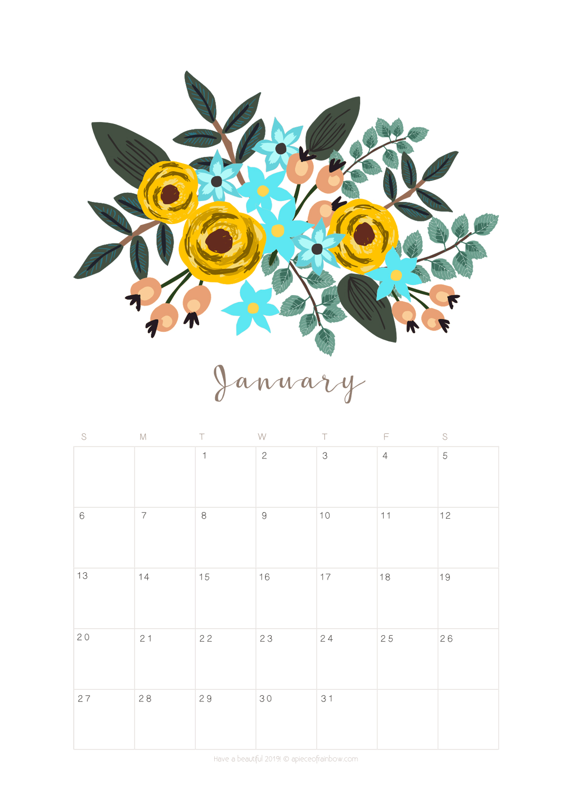photo relating to Flowers Printable known as Printable January 2019 Calendar Regular monthly Planner 2 Types