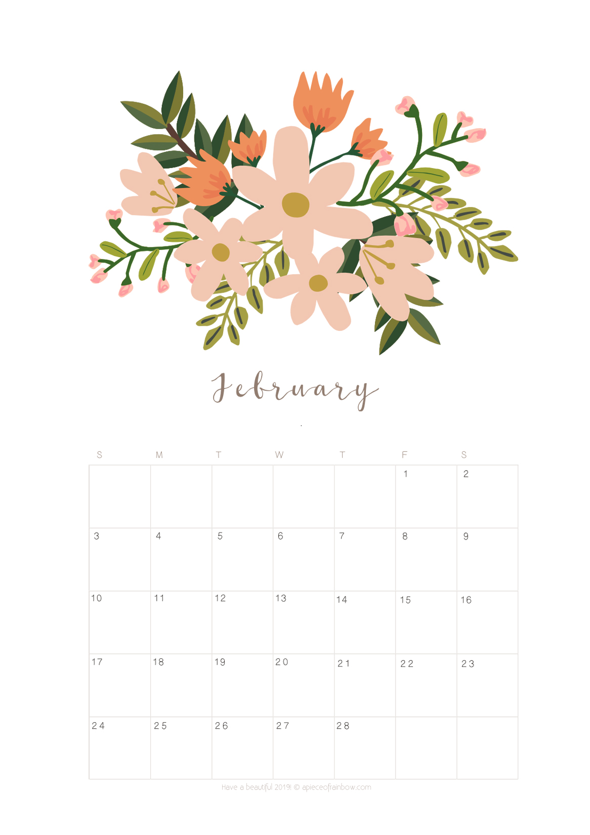 Calendar February 2019 Flowers Printable February 2019 Calendar Monthly Planner {2 Designs