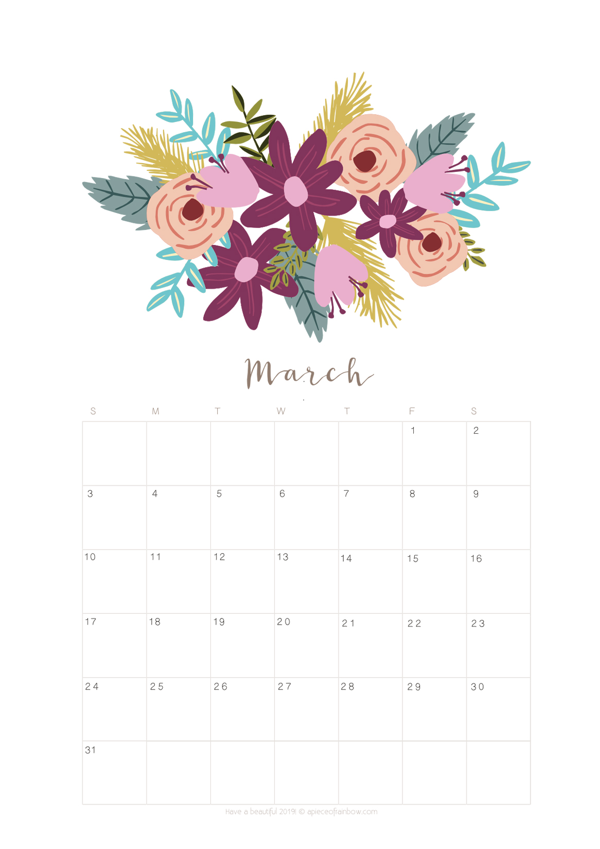 Printable March 2018 Calendar Monthly Planner Flower Design A