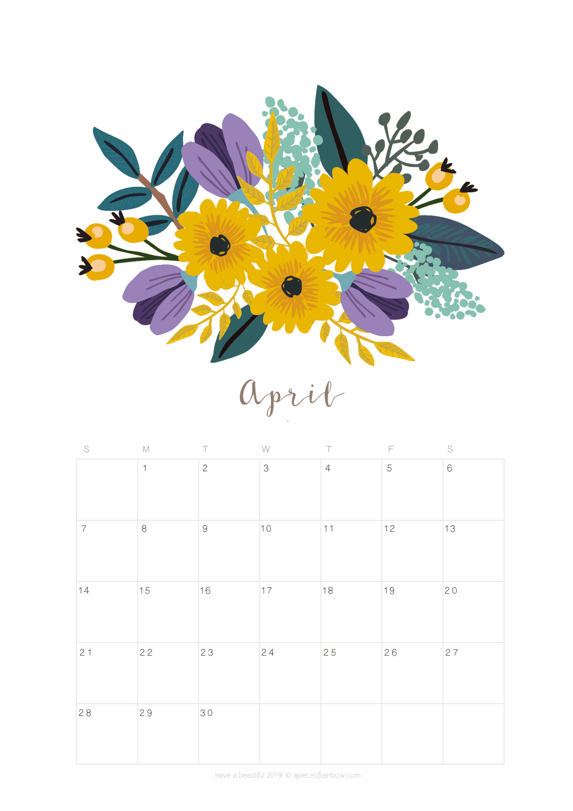 picture about April Printable named Printable April 2019 Calendar Month to month Planner 2 Models