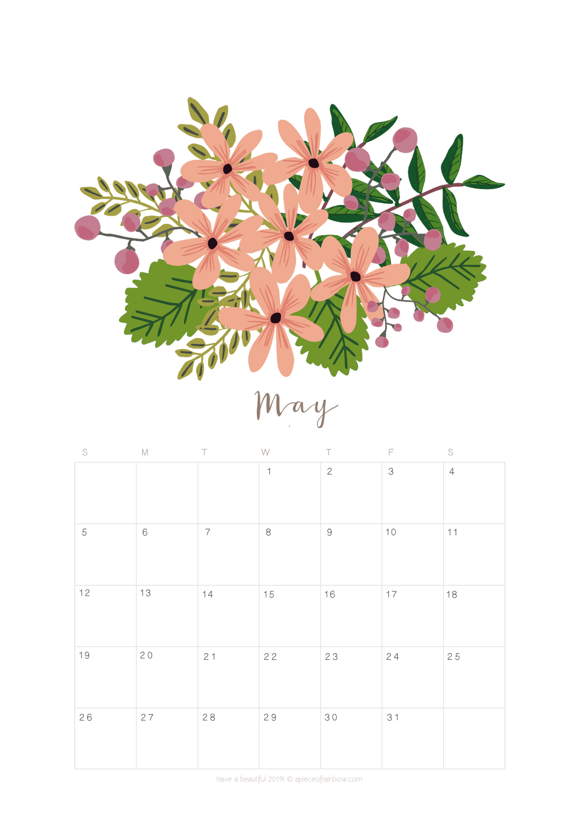 Art Journal Calendar Tutorial : Printable may calendar monthly planner designs