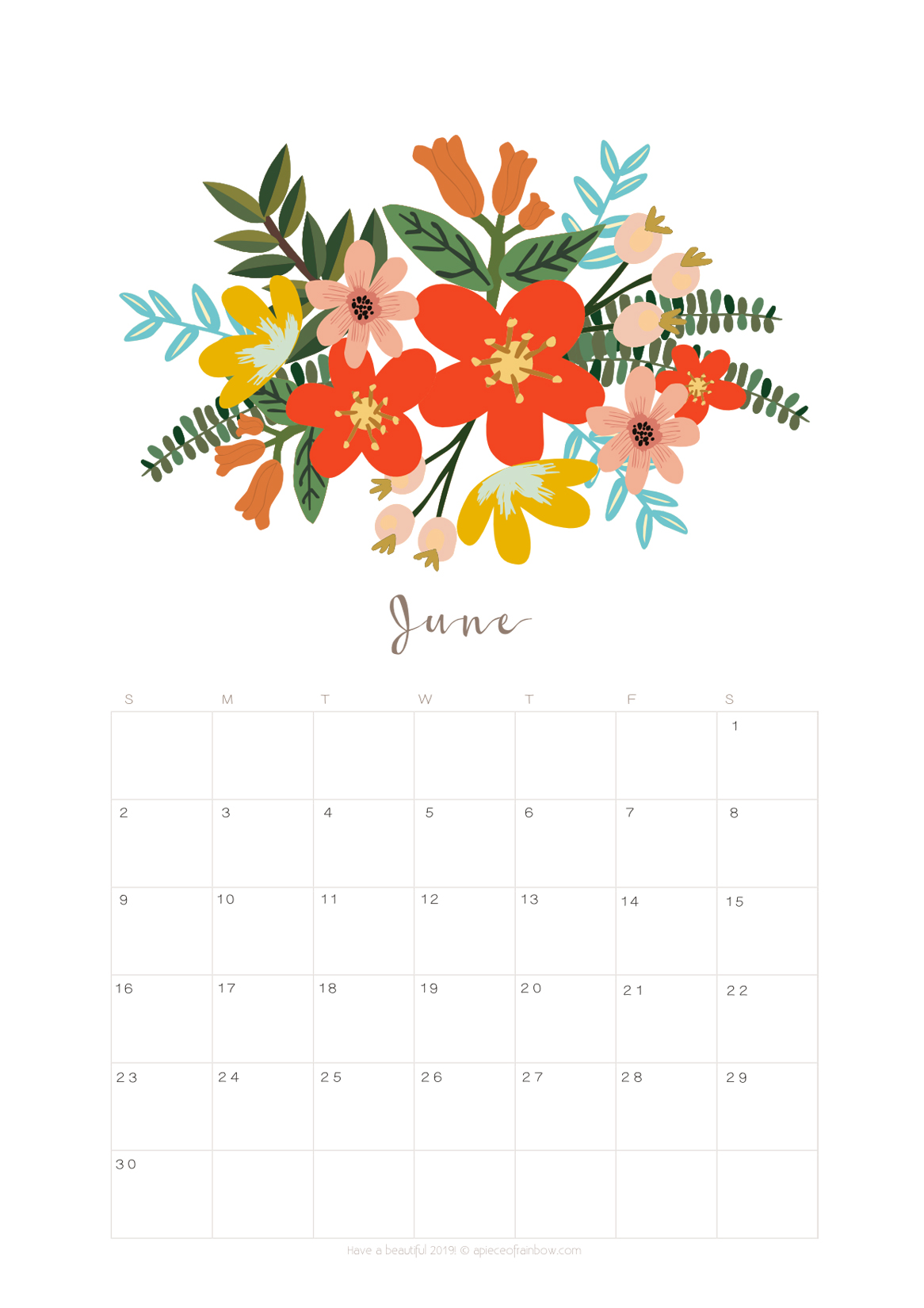 Printable June 2019 Calendar Monthly Planner {2 Designs ...