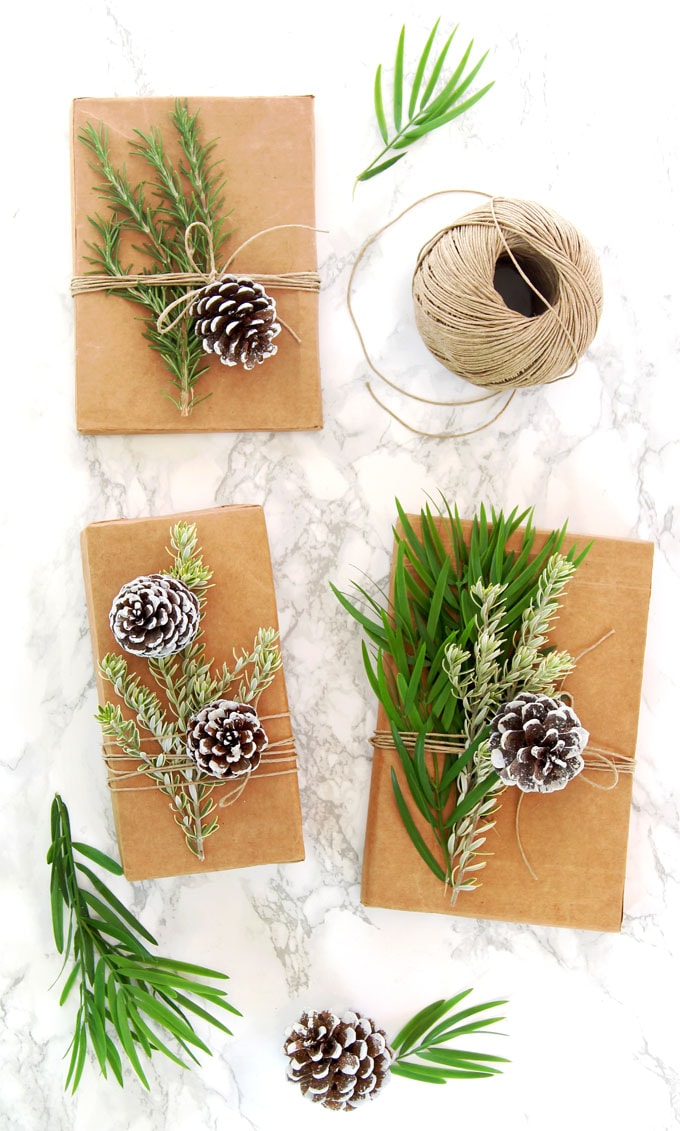 leaves and snow covered pine cones DIY gift wrapping