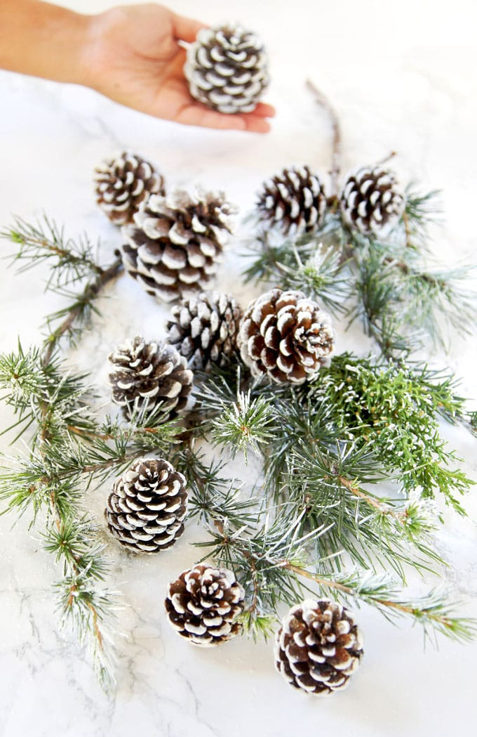 winter wonderland wedding style white DIY snow covered pine cones & branches