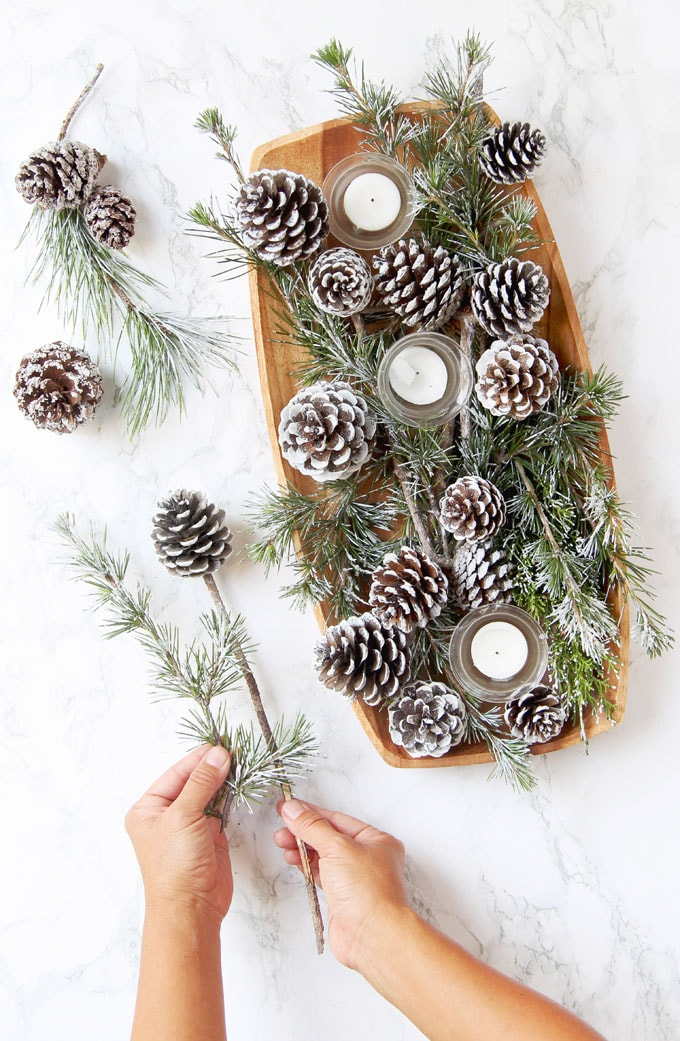 3-Minute DIY Snow Covered Pine Cones & Branches {3 Ways ...