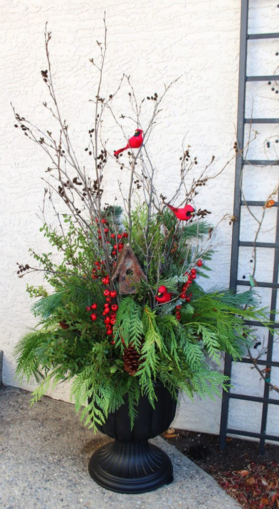 Farmhouse style outdoor winter planter pot with red birds