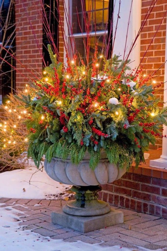 outdoor Christmas urn with lights