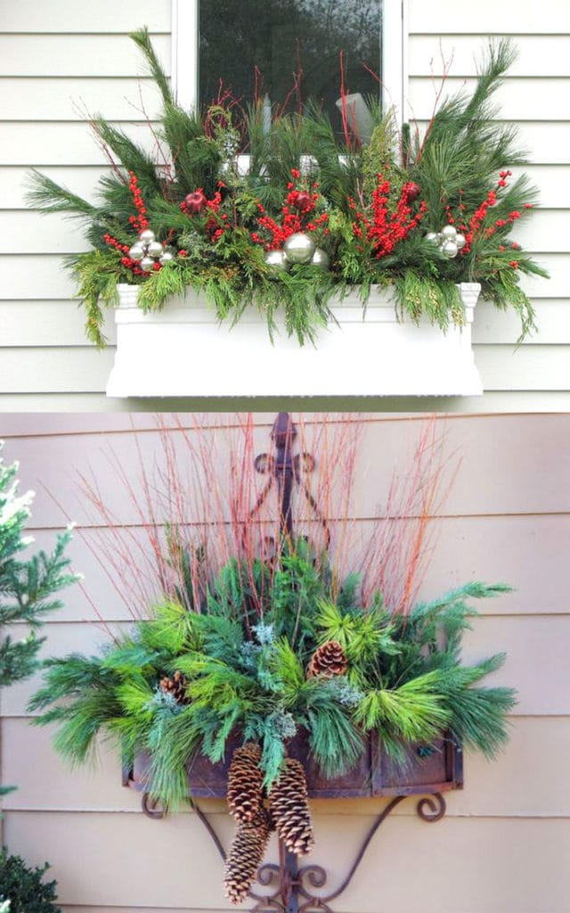 Window box outdoor planters in winter