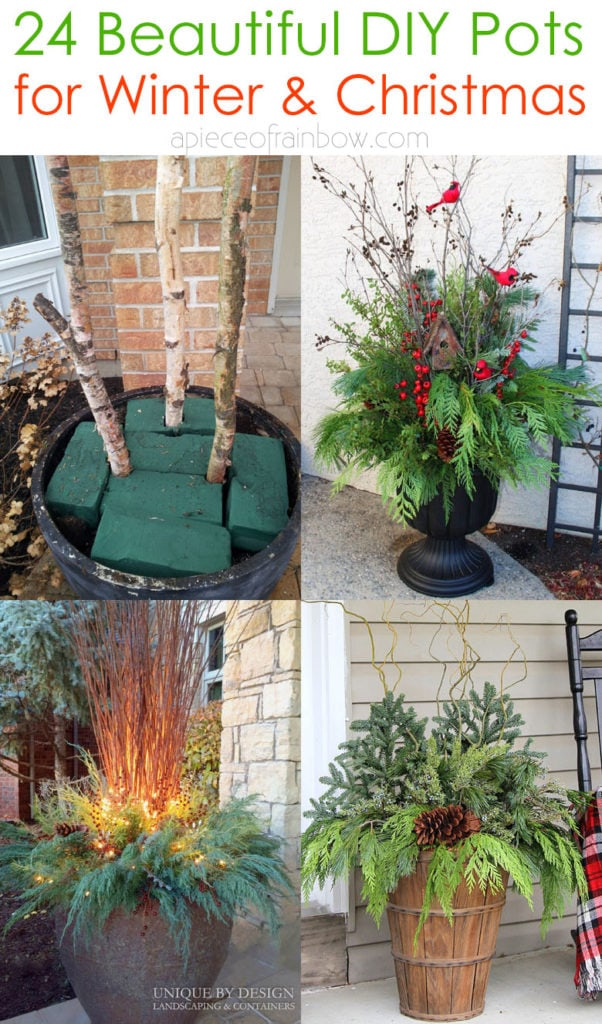 How to make colorful outdoor planters for winter & Christmas decorations. Best porch pot ideas with evergreen branches, berries & pine cones!-