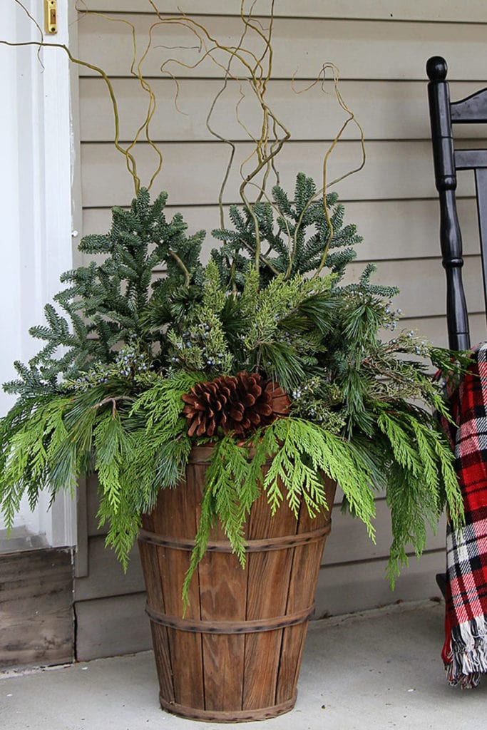 harvest basket porch planter