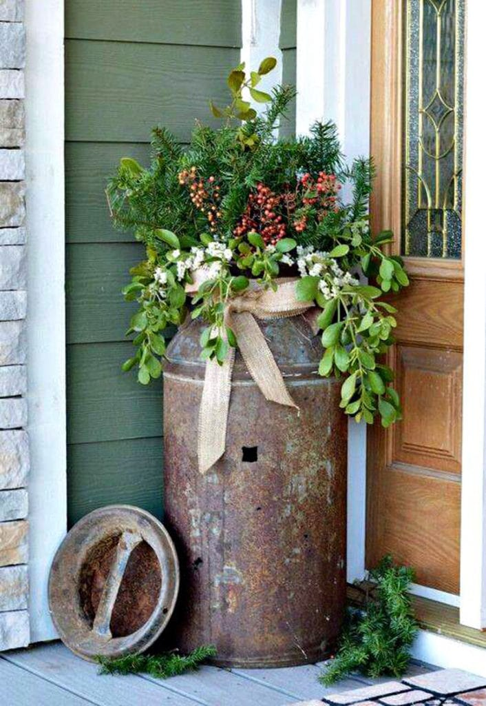 vintage milk tin as porch pot