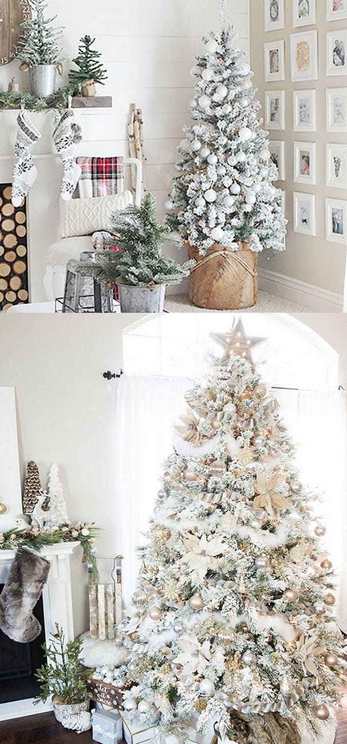 A snow flocked Christmas tree does not need much to look stunning. Less is more, keep it simple and elegant with all white ornaments, or touches of gold and ...