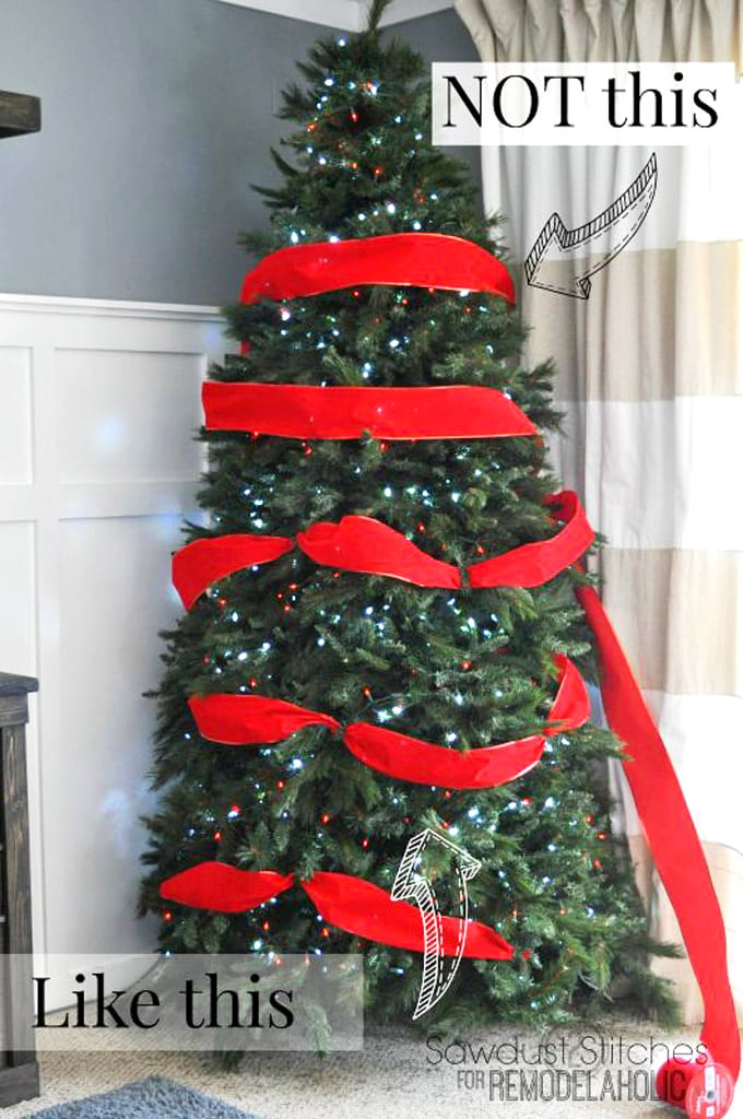 pro tips on Christmas tree decorating using ribbons