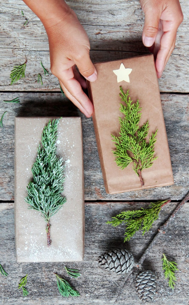 little Christmas trees on brown paper DIY Christmas gift wrapping